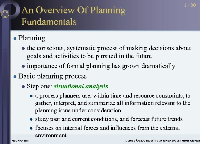 An Overview Of Planning Fundamentals l 1 - 30 Planning the conscious, systematic process
