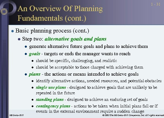 An Overview Of Planning Fundamentals (cont. ) l 1 - 31 Basic planning process