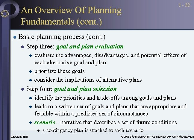 An Overview Of Planning Fundamentals (cont. ) l 1 - 32 Basic planning process