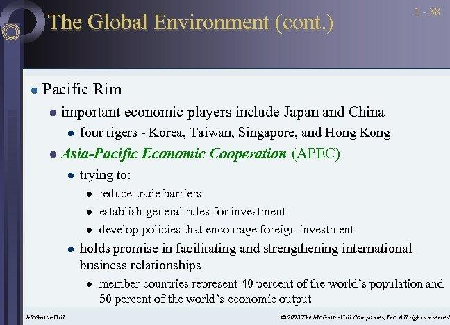 The Global Environment (cont. ) l 1 - 38 Pacific Rim l important economic