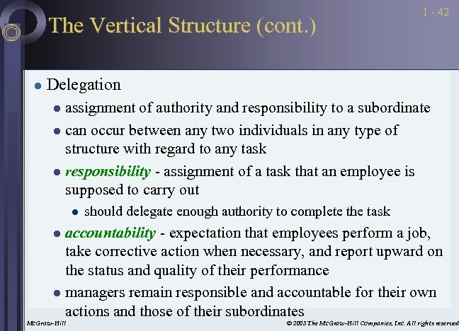 The Vertical Structure (cont. ) l 1 - 42 Delegation assignment of authority and