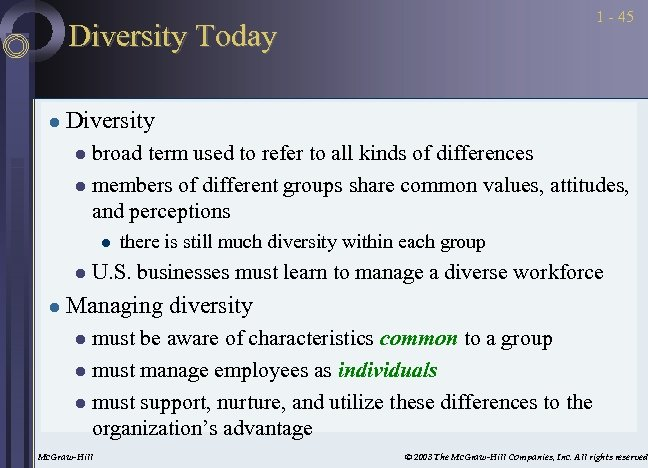 1 - 45 Diversity Today l Diversity broad term used to refer to all