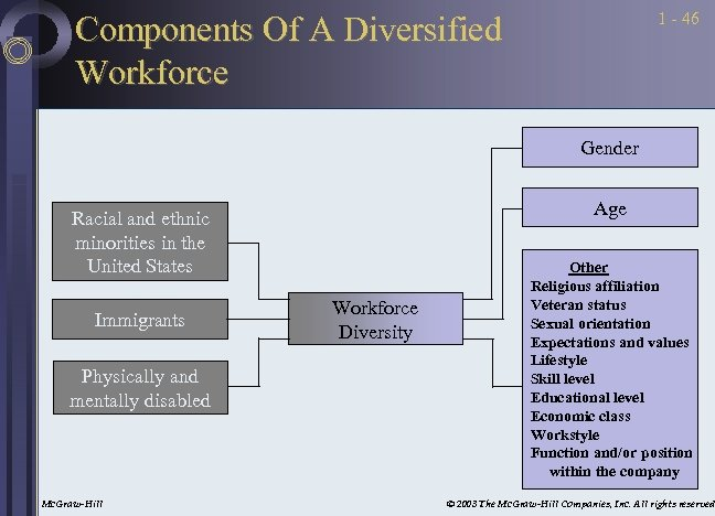 1 - 46 Components Of A Diversified Workforce Gender Age Racial and ethnic minorities