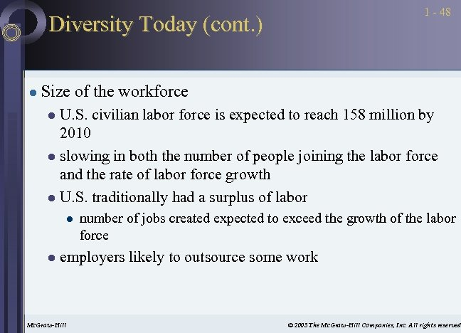 1 - 48 Diversity Today (cont. ) l Size of the workforce U. S.