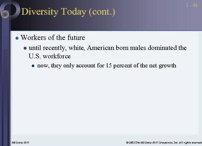 1 - 49 Diversity Today (cont. ) l Workers of the future l until