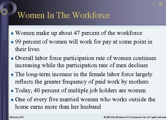 1 - 50 Women In The Workforce Women make up about 47 percent of