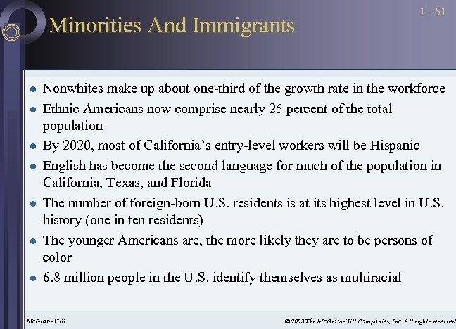 Minorities And Immigrants l l l l 1 - 51 Nonwhites make up about