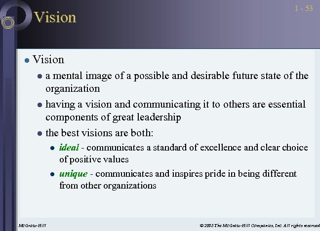 Vision l 1 - 53 Vision a mental image of a possible and desirable