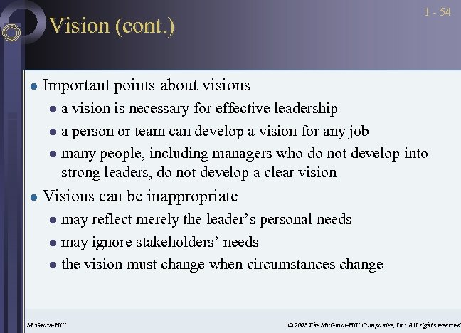 1 - 54 Vision (cont. ) l Important points about visions a vision is