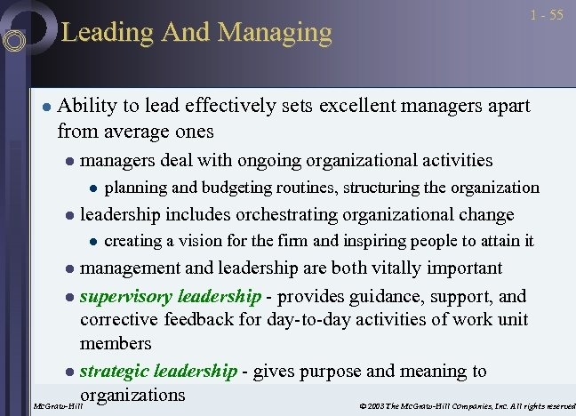 Leading And Managing l 1 - 55 Ability to lead effectively sets excellent managers