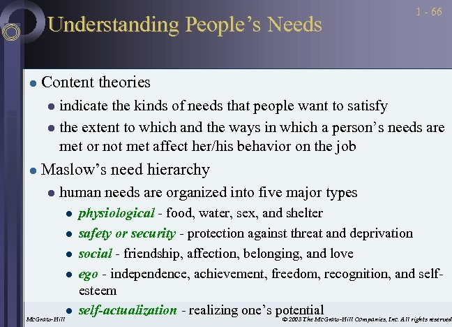 Understanding People's Needs l 1 - 66 Content theories indicate the kinds of needs