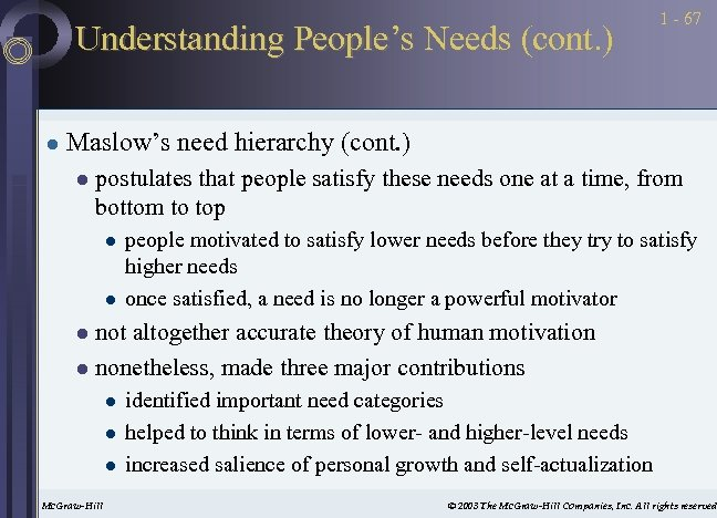 Understanding People's Needs (cont. ) l 1 - 67 Maslow's need hierarchy (cont. )