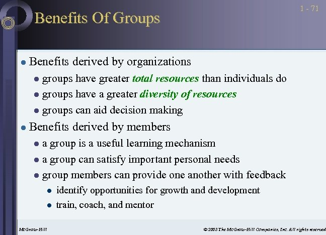 1 - 71 Benefits Of Groups l Benefits derived by organizations groups have greater
