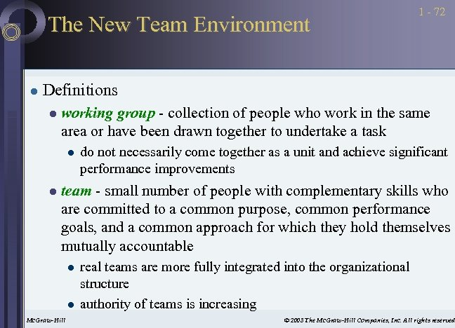 The New Team Environment l 1 - 72 Definitions l working group - collection