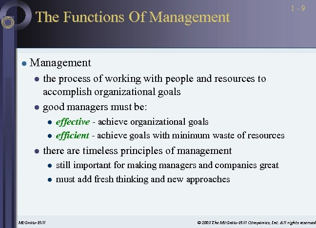 The Functions Of Management l 1 -9 Management the process of working with people