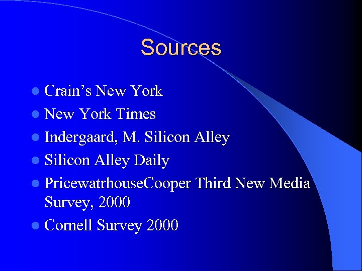 Sources l Crain's New York l New York Times l Indergaard, M. Silicon Alley