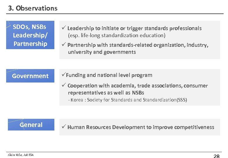 3. Observations SDOs, NSBs Leadership/ Partnership ü Leadership to initiate or trigger standards professionals