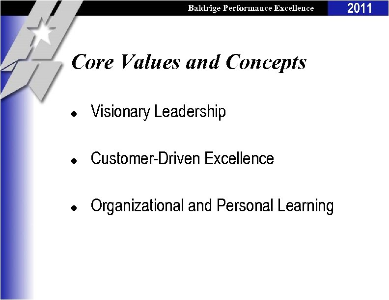 Baldrige Performance Excellence Program Core Values and Concepts l Visionary Leadership l Customer-Driven Excellence