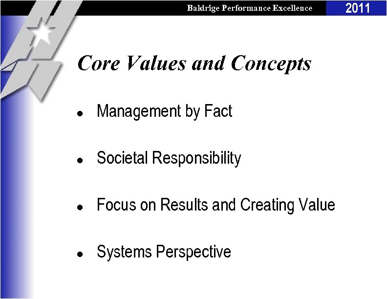 Baldrige Performance Excellence Program Core Values and Concepts l Management by Fact l Societal
