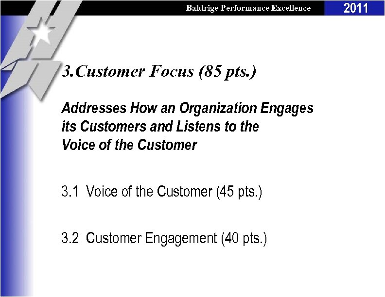 Baldrige Performance Excellence Program 3. Customer Focus (85 pts. ) Addresses How an Organization