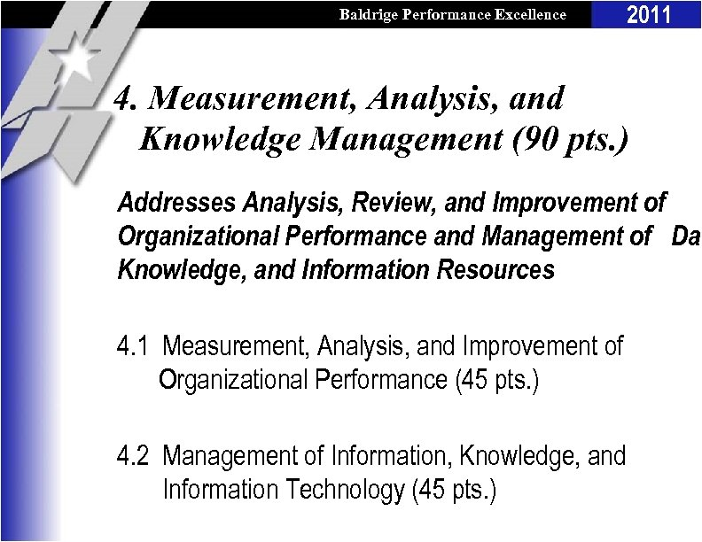 Baldrige Performance Excellence Program 2011 4. Measurement, Analysis, and Knowledge Management (90 pts. )