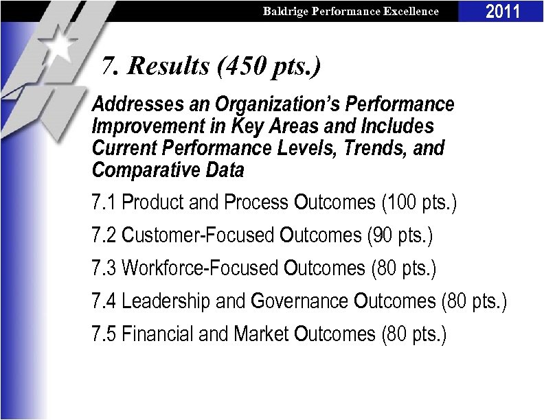 Baldrige Performance Excellence Program 2011 7. Results (450 pts. ) Addresses an Organization's Performance