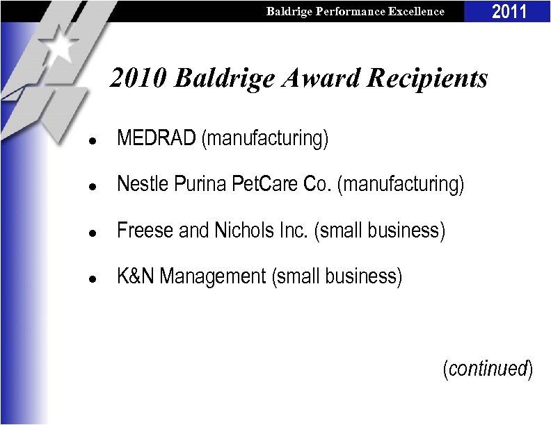 Baldrige Performance Excellence Program 2011 2010 Baldrige Award Recipients l MEDRAD (manufacturing) l Nestle
