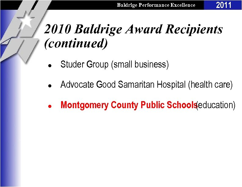 Baldrige Performance Excellence Program 2011 2010 Baldrige Award Recipients (continued) l Studer Group (small