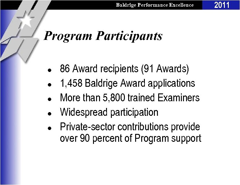 Baldrige Performance Excellence Program Participants l l l 86 Award recipients (91 Awards) 1,