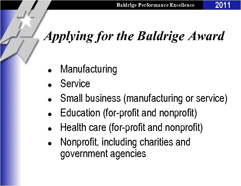 Baldrige Performance Excellence Program 2011 Applying for the Baldrige Award l l l Manufacturing