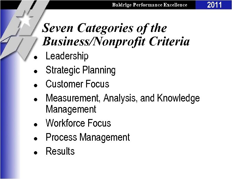 Baldrige Performance Excellence Program Seven Categories of the Business/Nonprofit Criteria l l l l
