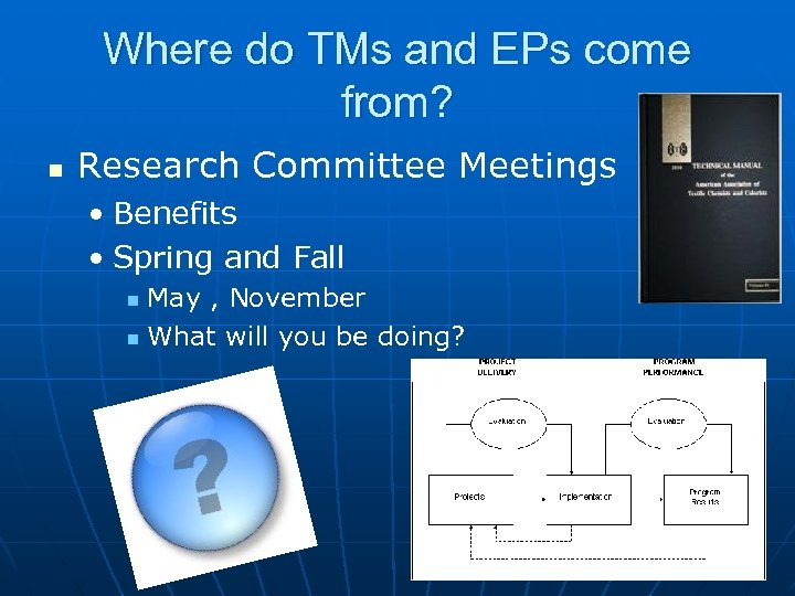 Where do TMs and EPs come from? n Research Committee Meetings • Benefits •