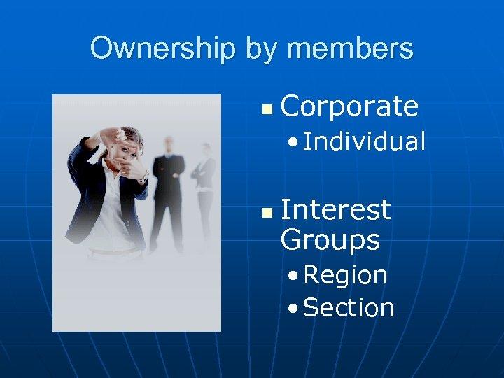 Ownership by members n Corporate • Individual n Interest Groups • Region • Section