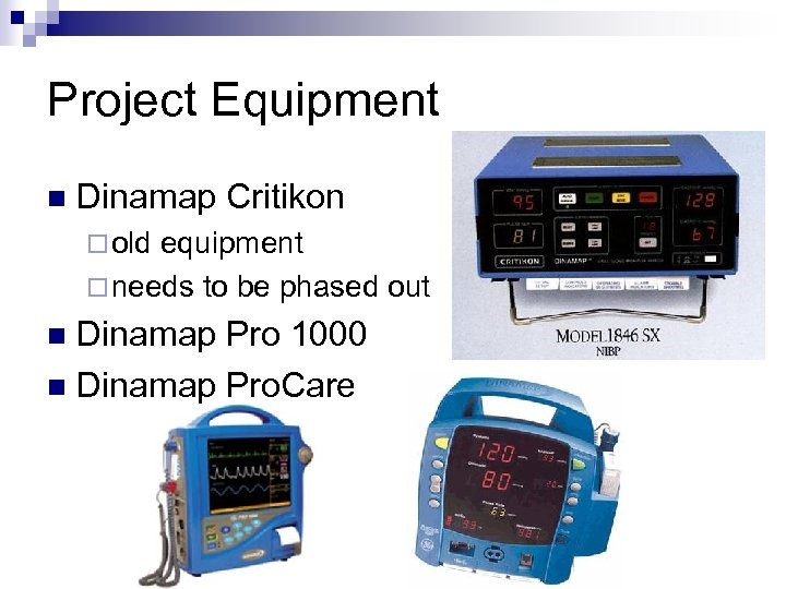 Project Equipment n Dinamap Critikon ¨ old equipment ¨ needs to be phased out