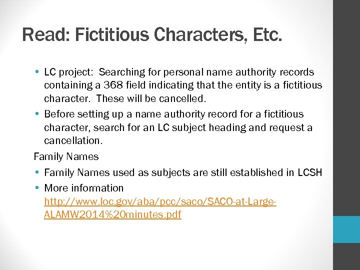 Read: Fictitious Characters, Etc. • LC project: Searching for personal name authority records containing