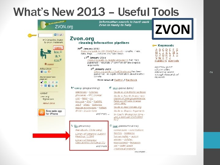 What's New 2013 – Useful Tools 2 ZVON