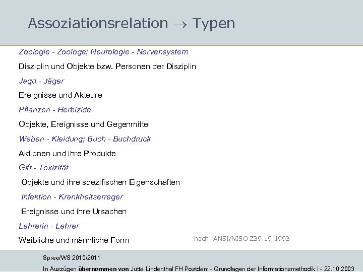 Assoziationsrelation Typen Zoologie - Zoologe; Neurologie - Nervensystem Disziplin und Objekte bzw. Personen der