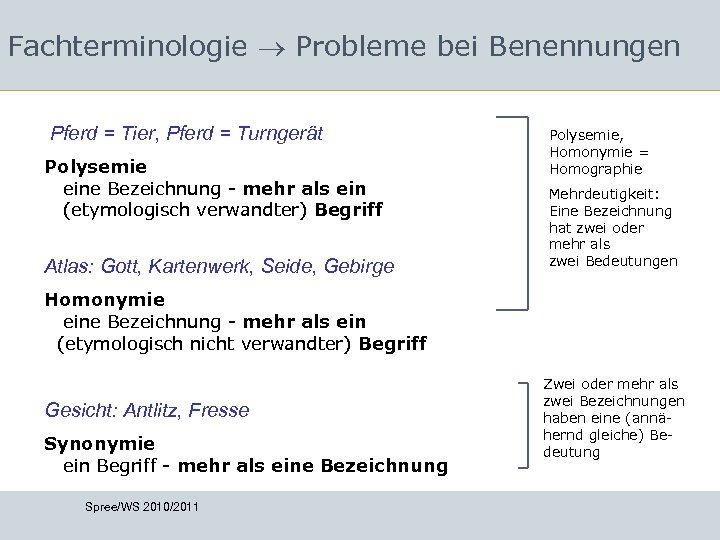 Fachterminologie Probleme bei Benennungen Pferd = Tier, Pferd = Turngerät Polysemie eine Bezeichnung -