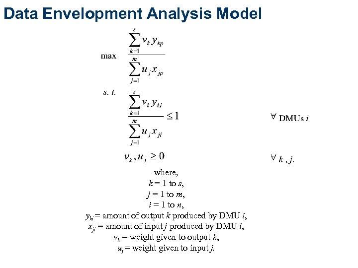Data Envelopment Analysis Model where, k = 1 to s, j = 1 to