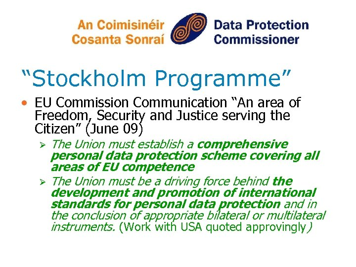 """""""Stockholm Programme"""" • EU Commission Communication """"An area of Freedom, Security and Justice serving"""