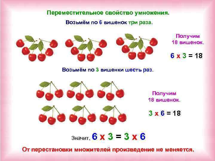 Переместительное свойство умножения. Возьмём по 6 вишенок три раза. Получим 18 вишенок. 6 х