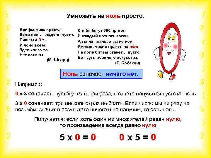 Умножать на ноль просто. Арифметика проста: Если ноль – ладонь пуста. Пишем « 0