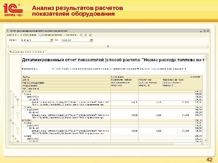 Анализ результатов расчетов показателей оборудования 42