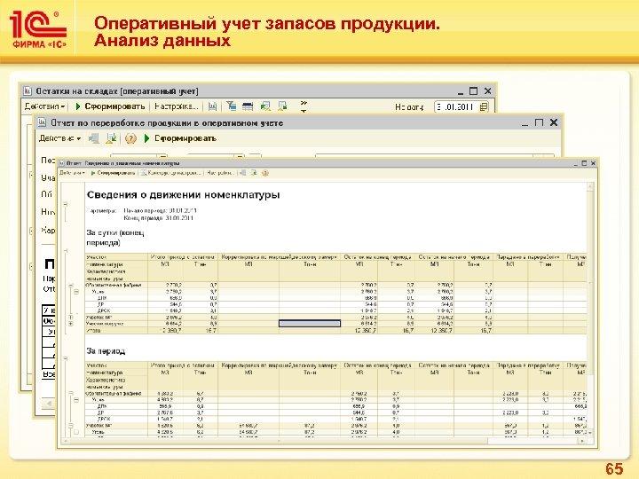 Оперативный учет запасов продукции. Анализ данных 65