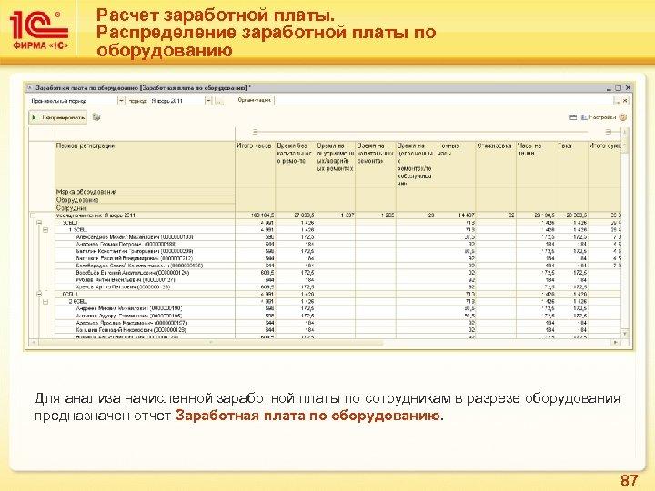 Расчет заработной платы. Распределение заработной платы по оборудованию Для анализа начисленной заработной платы по