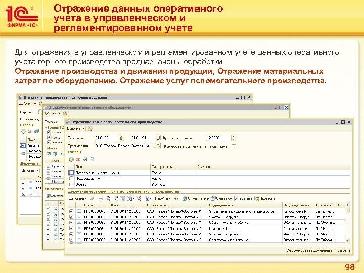 Отражение данных оперативного учета в управленческом и регламентированном учете Для отражения в управленческом и