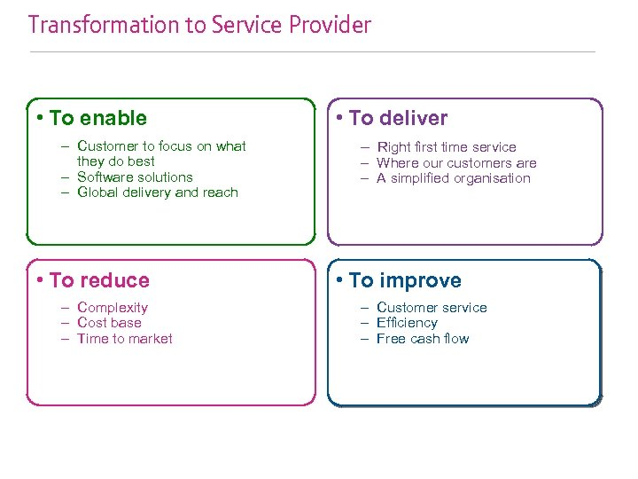 Transformation to Service Provider • To enable – Customer to focus on what they