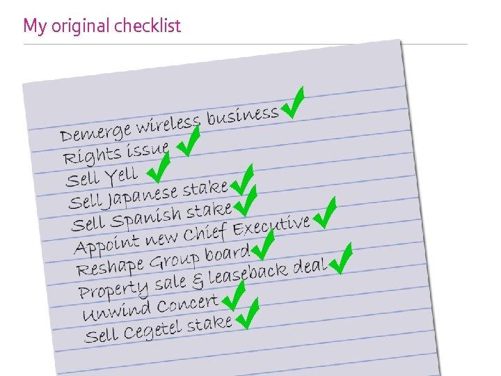 My original checklist