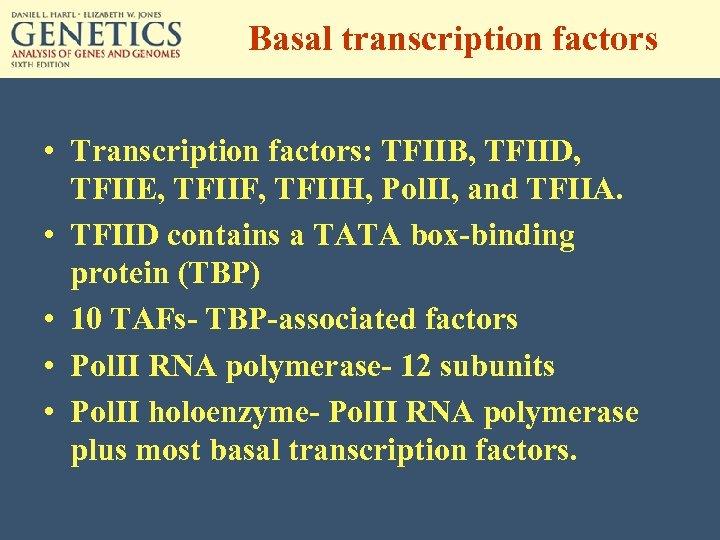 Basal transcription factors • Transcription factors: TFIIB, TFIID, TFIIE, TFIIF, TFIIH, Pol. II, and
