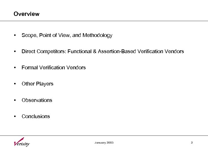 Overview • Scope, Point of View, and Methodology • Direct Competitors: Functional & Assertion-Based